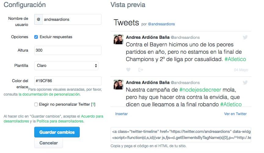 configuracion tweets