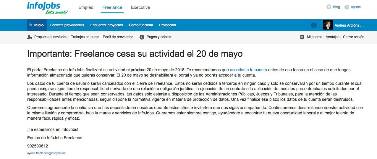 Infojobs Freelance cierra el 20 de mayo